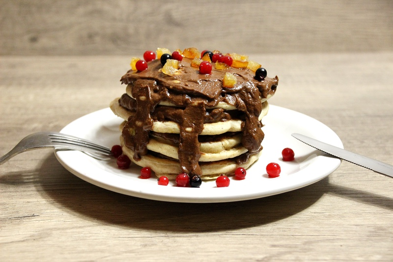 Pancakes maca et pâte à tartiner express